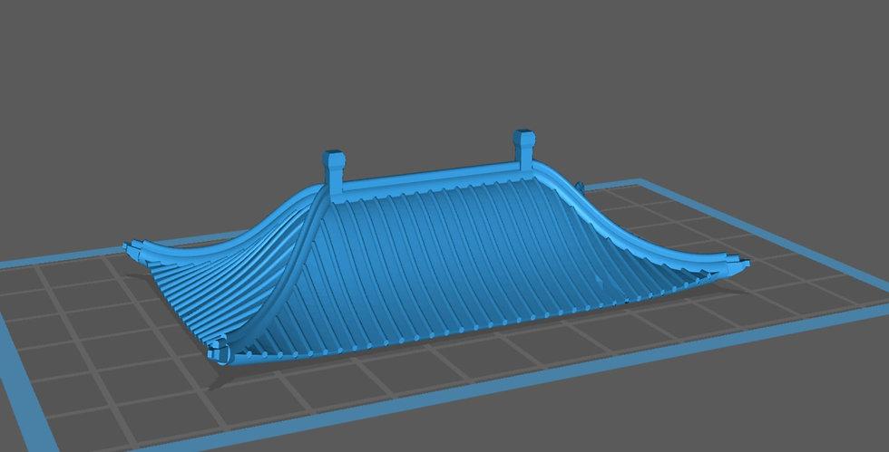 【3Dデータ】建物パーツ 中華風鳥居屋根 B