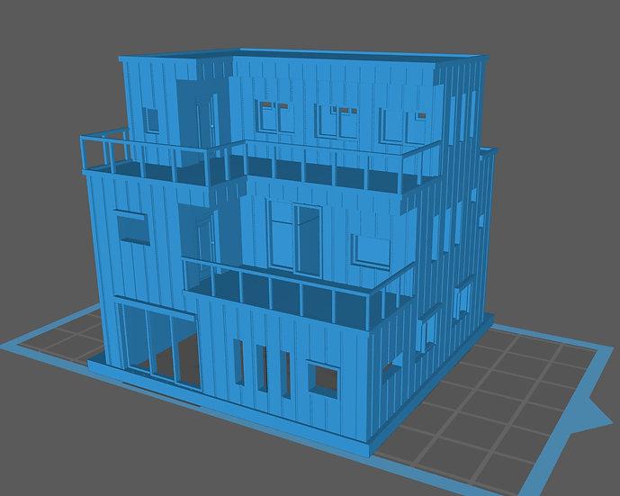 【3Dデータ】三階建て 現代住宅