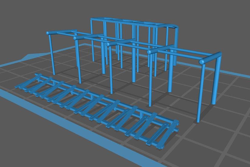 【3Dデータ】情景小物 車庫雨よけ 駐輪場セット