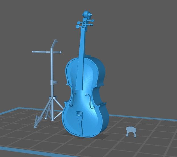 【3Dデータ】チェロ&チェロスタンド 1/24サイズ