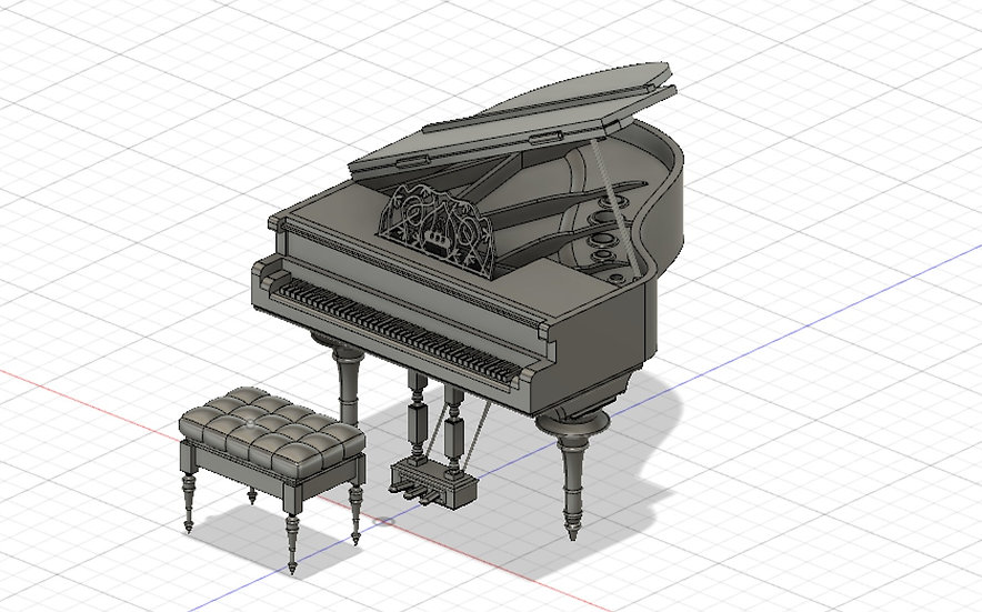 【3Dデータ】ピアノ&ピアノチェア 1/24サイズ
