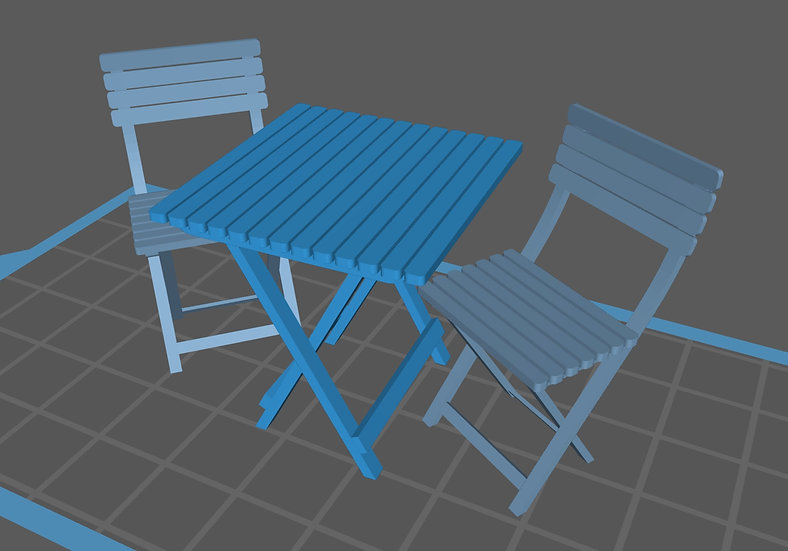【3Dデータ】ガーデンテーブル&チェア 1/24サイズ
