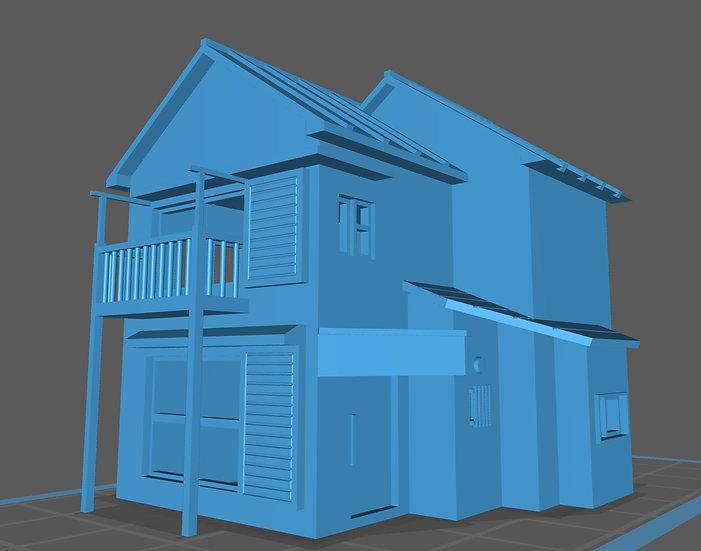 【3Dデータ】築40年 二階建て 一般住宅 ベランダ付き