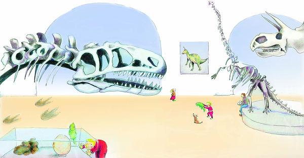 dinosaurussen museum t rex barbara van rheenen illustratie