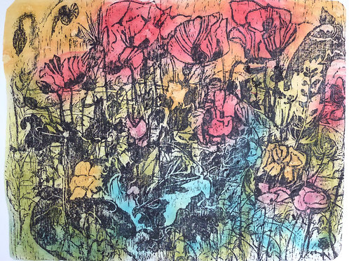 Poppies Coloured Woodcut Rubbing