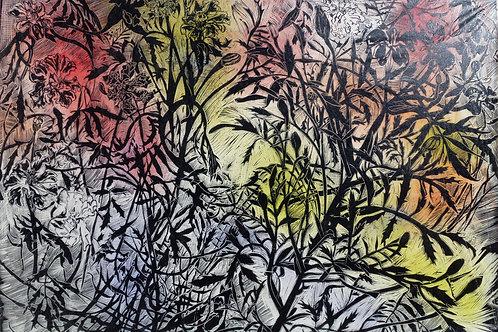 Marigolds linocut