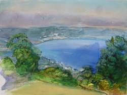 lakeview through the bushes-watercolour-78x58cm
