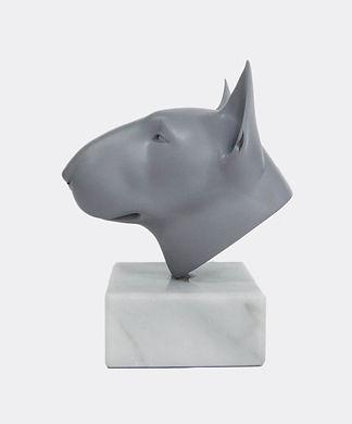 Matt Grey Bull Terrier Sculpture Head Si