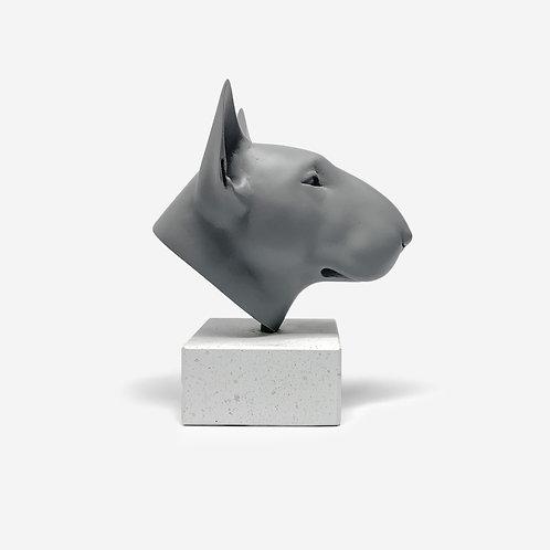 Small Matt Grey Bull Terrier Sculpture