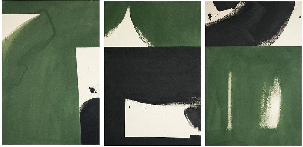 Black & Olive triptych set of 3 (c o m I) 2020