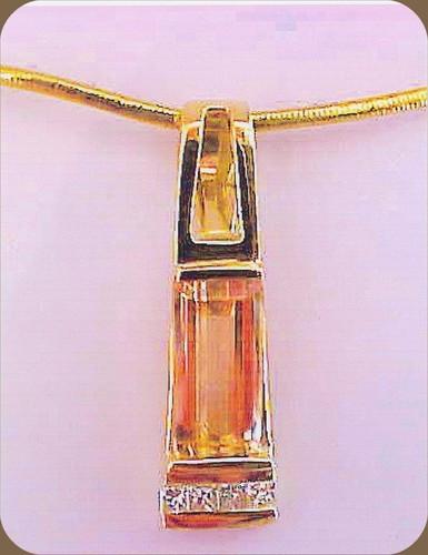 18 kt Imperial Topaz Diamond Pendant