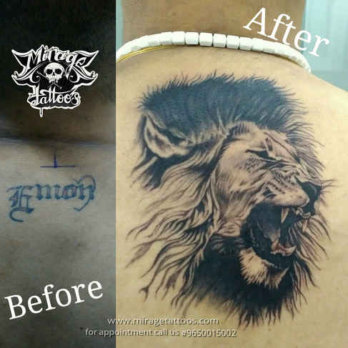 Coverup with Lion tattoo
