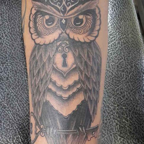 Owl With Key tattoo
