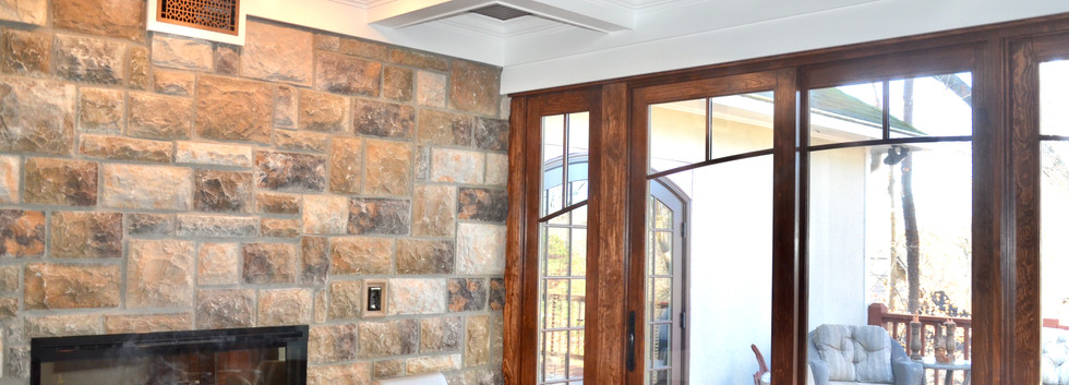 custom ceiling, fireplace and stone installation
