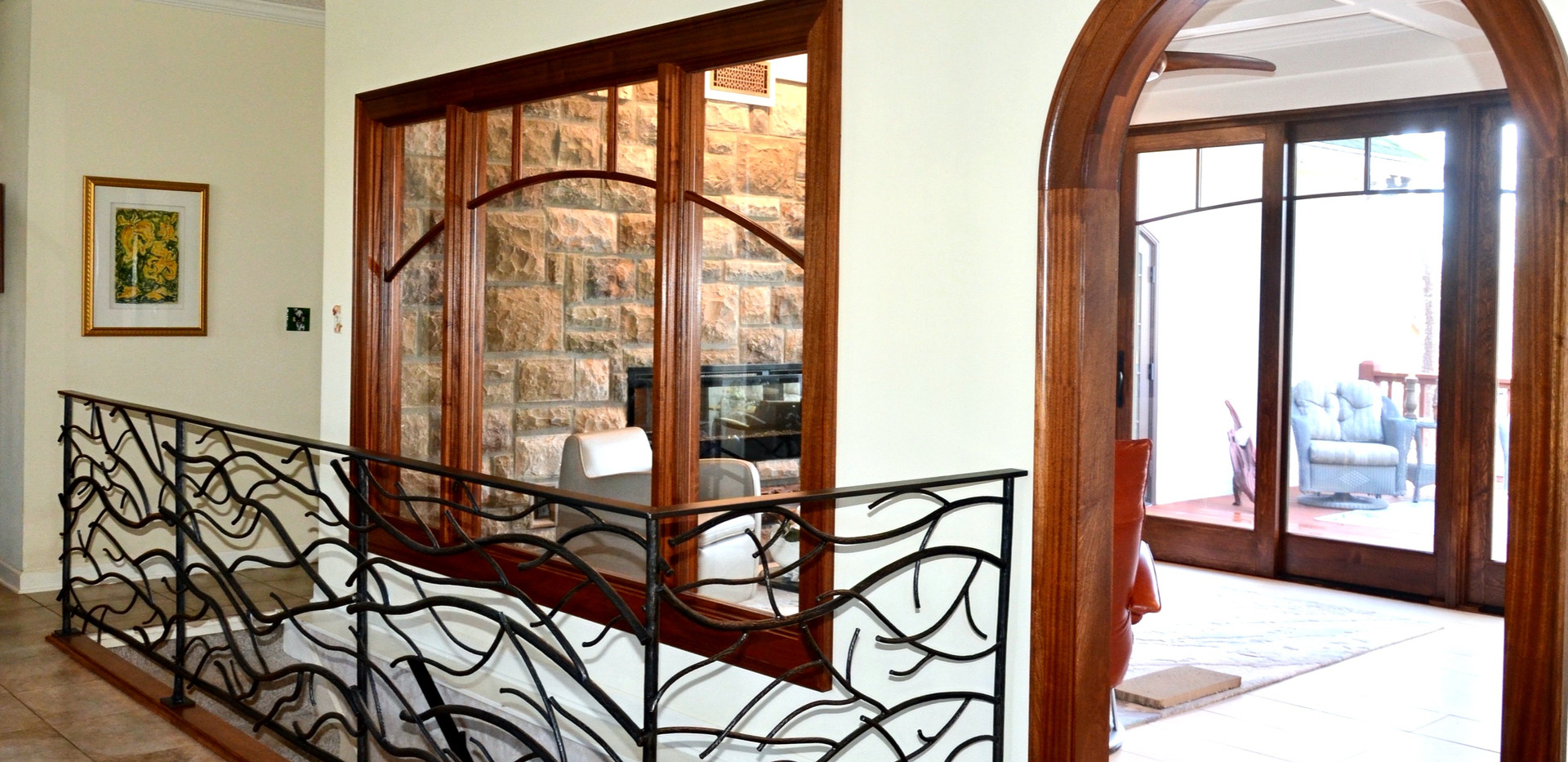custom railings, windows, arch