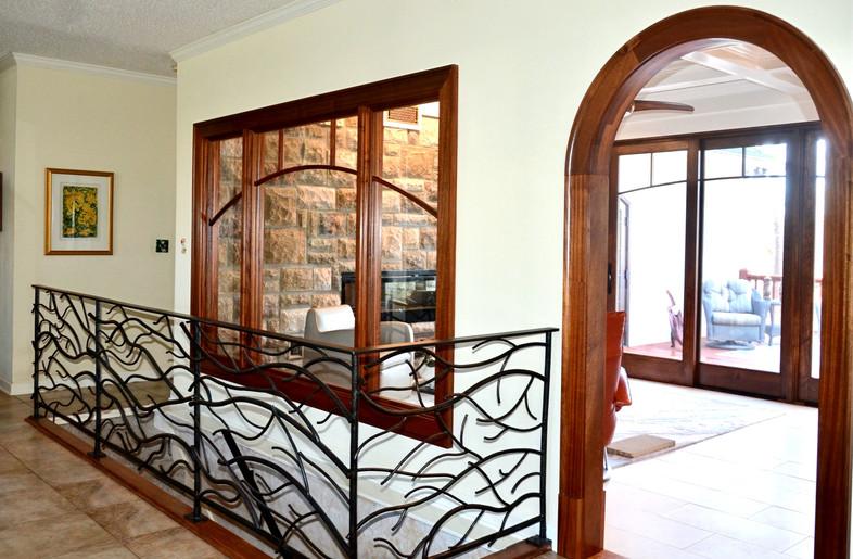 custom railings, windows, arch