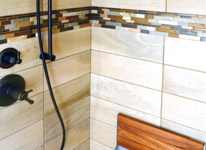 shower seat + tile inlay