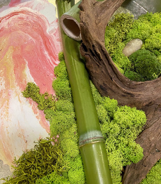 moss, painting, bamboo, driftwwod detail