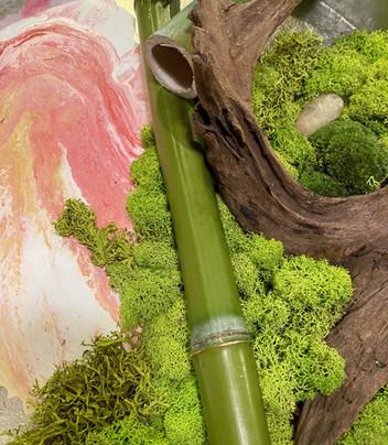 moss, painting, bamboo, driftwwod detail