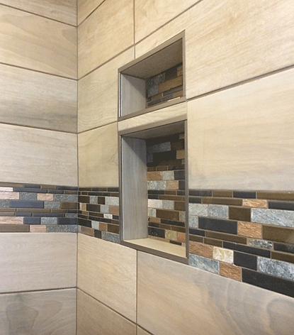 shower niche, accent, stone, slate, copper, tile, porcelain