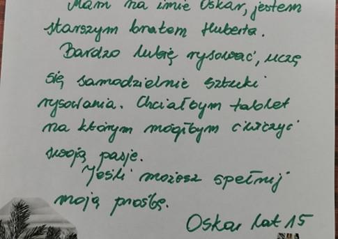 List nr 19 Oskar B.