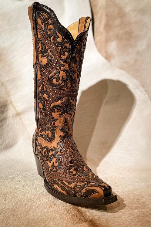 Corral Women's Boot Brown Full Overlay - G1309