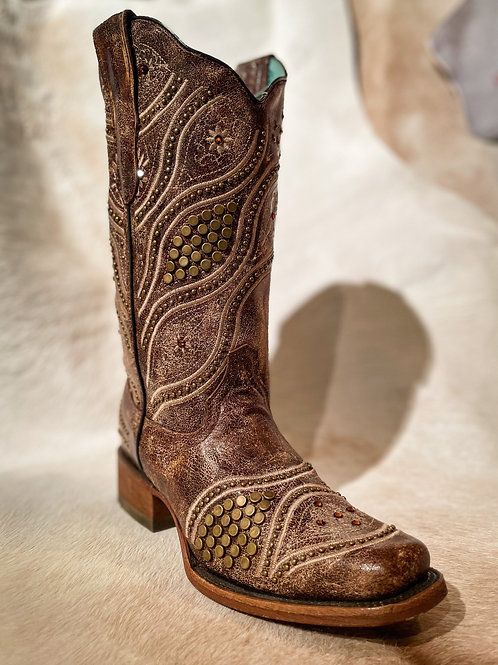 Corral Women's Brown Studded Embrd - E1388