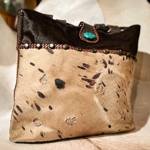 Jute Purse Brown Cowhide Turquoise Stone