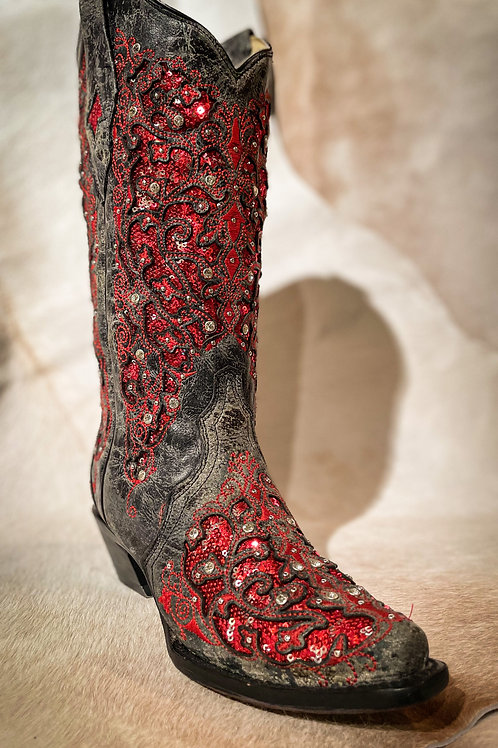 Corral Black Red Glitter Boots -A3534