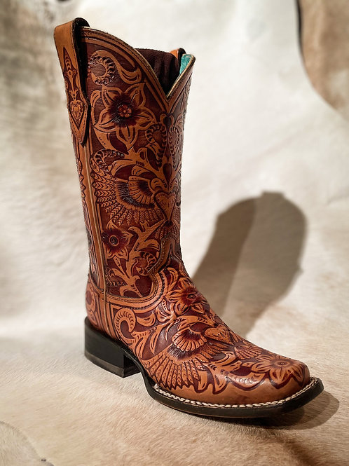 Corral Heart and Wing Tooled Square Toe -C3364