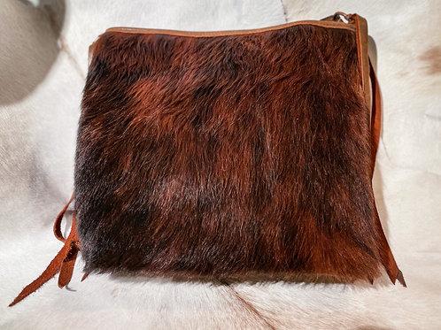 Hair On Copper Stud Shoulder Bag