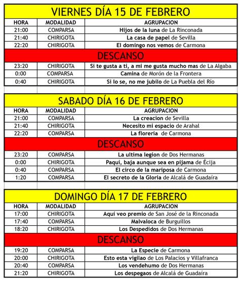Orden de actuación y horarios de la fase de preliminares del concurso de agrupaciones carnavalescas.