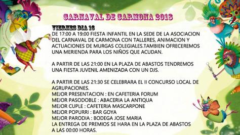 ACTIVIDADES CARNAVAL DE CARMONA 2018 - VIERNES 16 DE FEBRERO