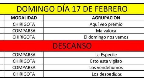 Orden de actuación de las Preliminares del concurso de agrupaciones Carnavalescas