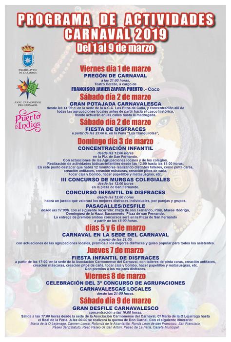 Programa de actividades del Carnaval 2019