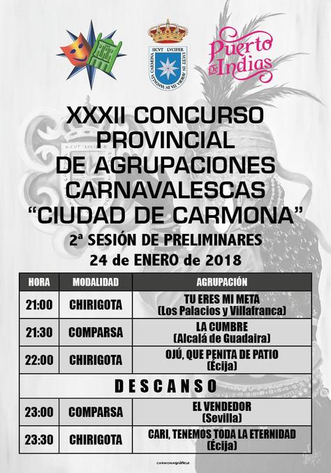 Actuacion miercoles 24 de Enero del XXXII concurso de agrupaciones carnavalescas de Carmona.
