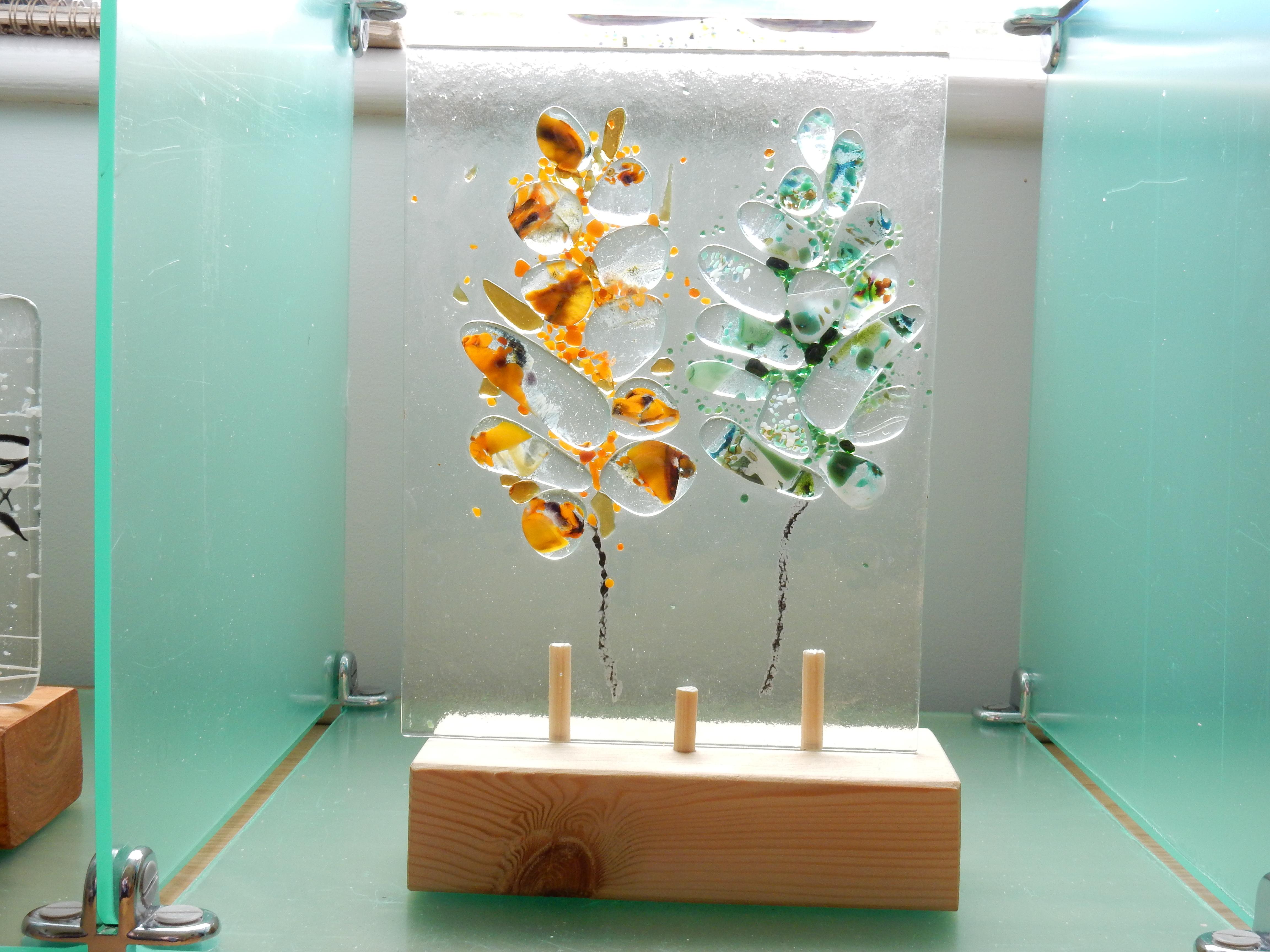 Fused glass pebble trees