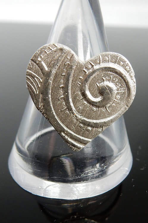Heart Spiral pattern imprinted Silver ClayRing