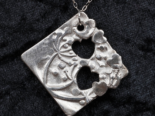 Silver Clay Hearts and Flowers Pendant