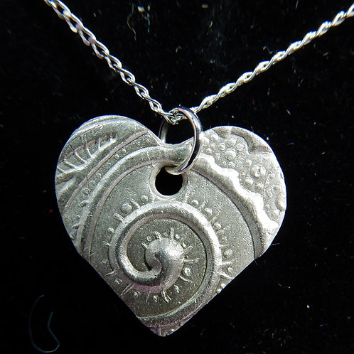 Silver Clay Heart Pendant with Swirl imprint2