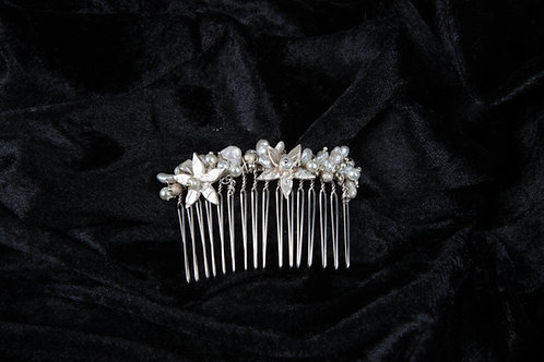 Silver Clay Flower and Mother Of Pearl Bridal Comb