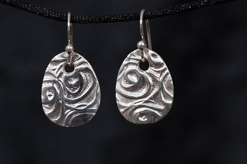 Silver Clay Roses Earrings