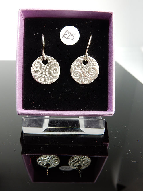 Silver Clay spiral imprint Earrings