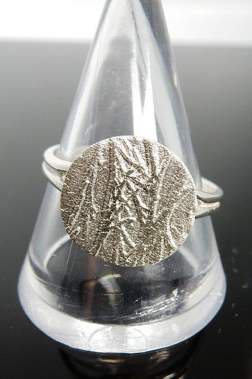 Bamaboo imprinted Silver Clay Ring