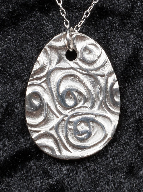 Silver Clay Roses Pendant