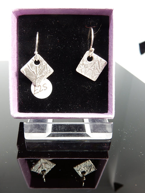 Silver Clay Bamaboo imprint Earrings