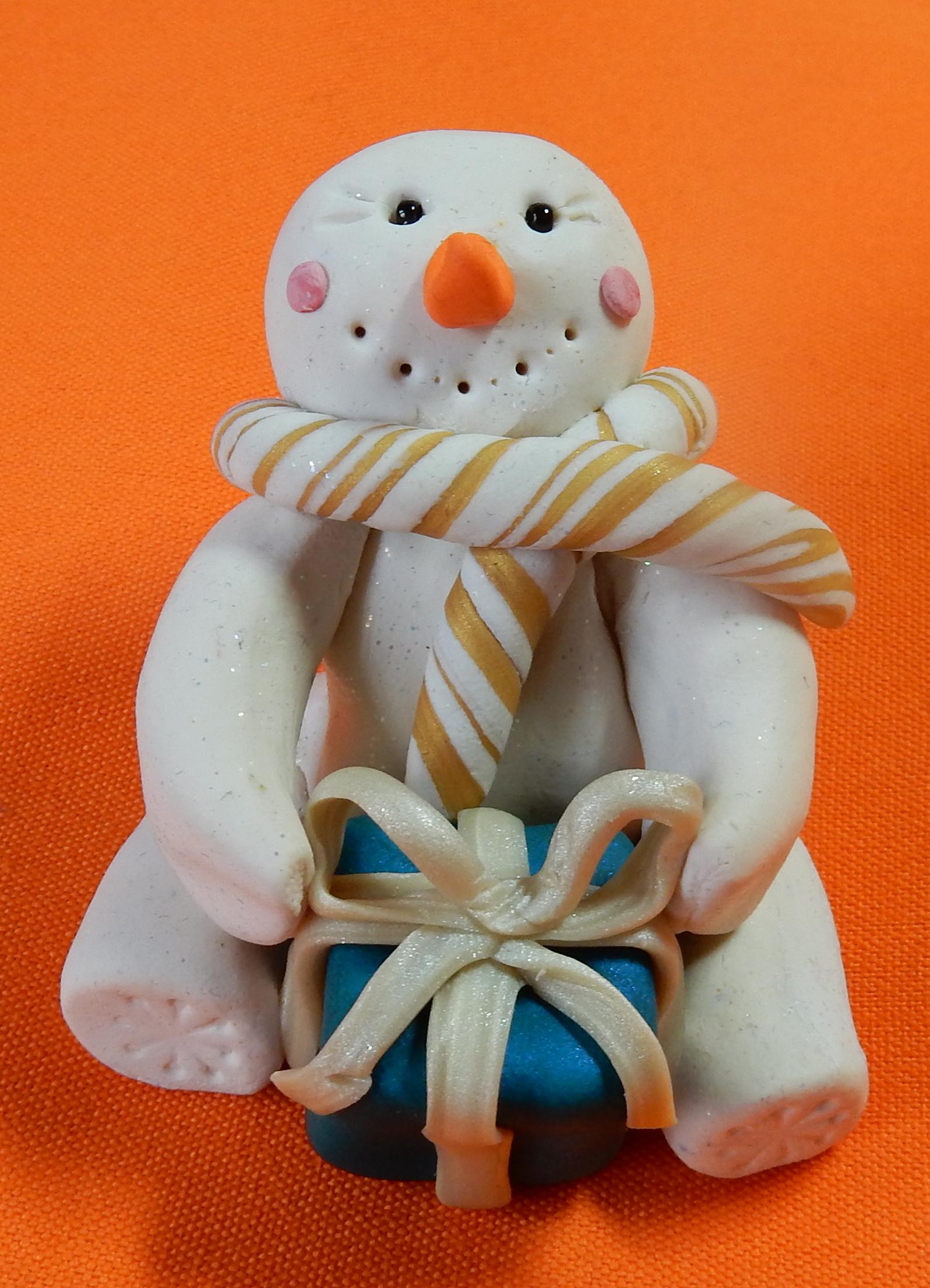 snowman blue present glod scarf