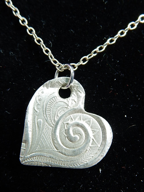 Silver Clay Heart Pendant with Swirl imprint