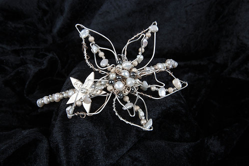 Mother of Pearl Wire Flower Tiara