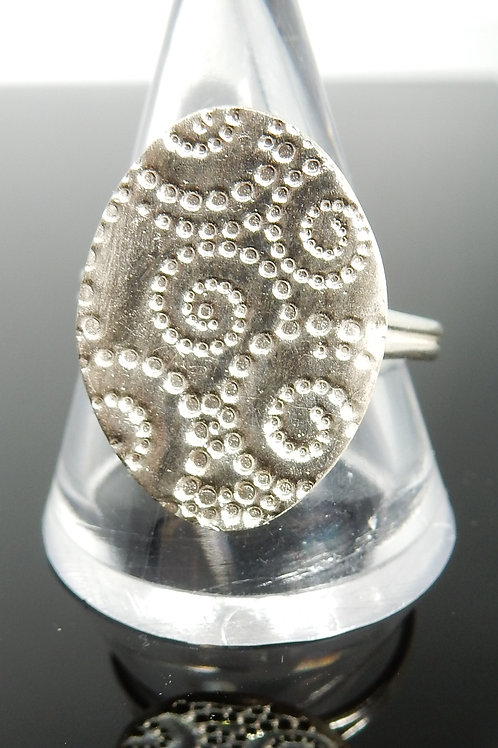 Oval Spiral imprinted Silver ClayRing